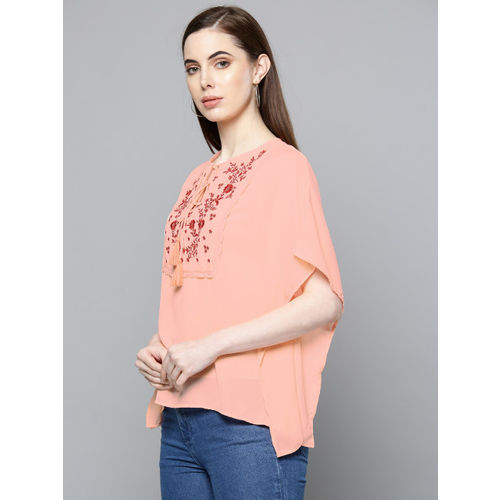 Chemistry Women Peach-Coloured Embroidered Detail Kaftan Top
