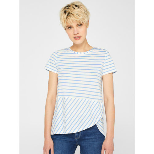 ESPRIT Women White & Blue Striped Top
