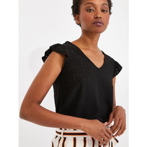 promod Women Black Self Design Top