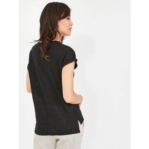 promod Women Black Solid Linen Semi-Sheer Top