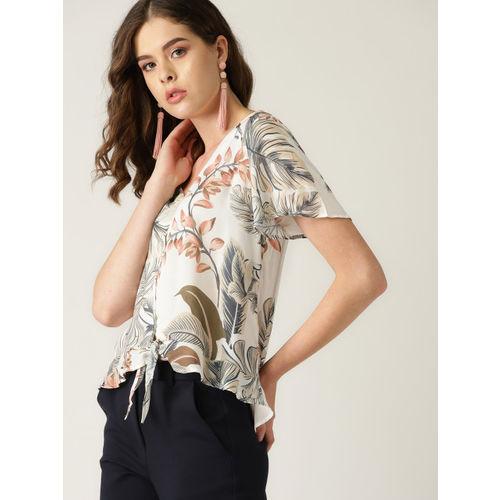 MANGO Women White & Beige Tropical Print Top