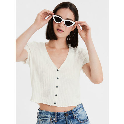 AMERICAN EAGLE OUTFITTERS Women White Self Design Boxy Top