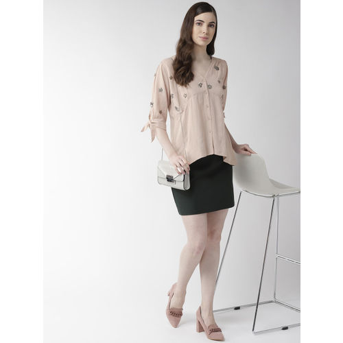 SCOUP Women Peach-Coloured Embellished A-Line Top
