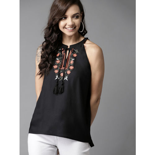 HERE&NOW Women Black Solid Embroidered Detail A-Line Top