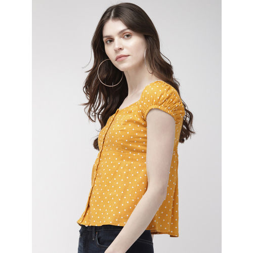 20Dresses Women Mustard Yellow & White Printed Top