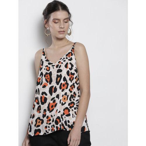 DOROTHY PERKINS Women Cream-Coloured & Black Animal Print A-Line Top