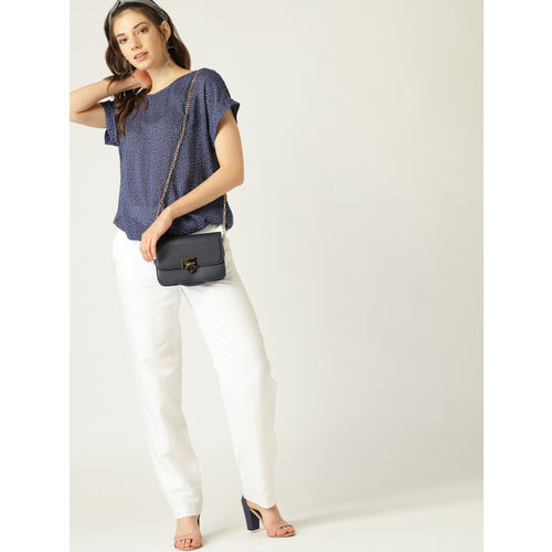 ESPRIT Women Navy Blue & White Printed Semi-Sheer Blouson Top