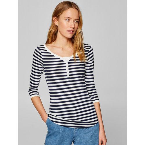 ESPRIT Women White & Navy Blue Striped Top