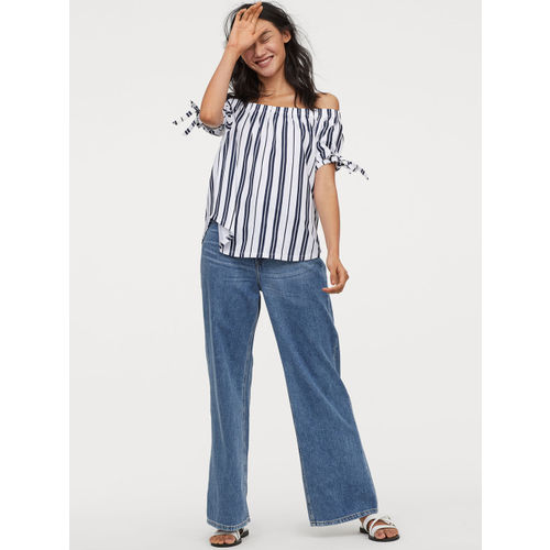 H&M Women White and Blue Striped Off-the-shoulder Top