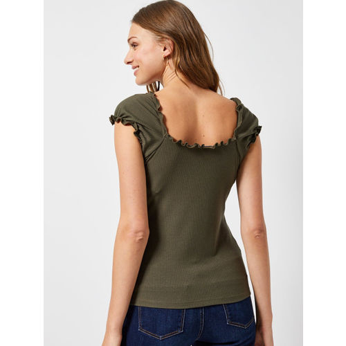 DOROTHY PERKINS Women Olive Green Ribbed Fitted Top