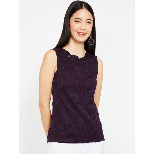 CODE by Lifestyle Women Purple Self Design Top