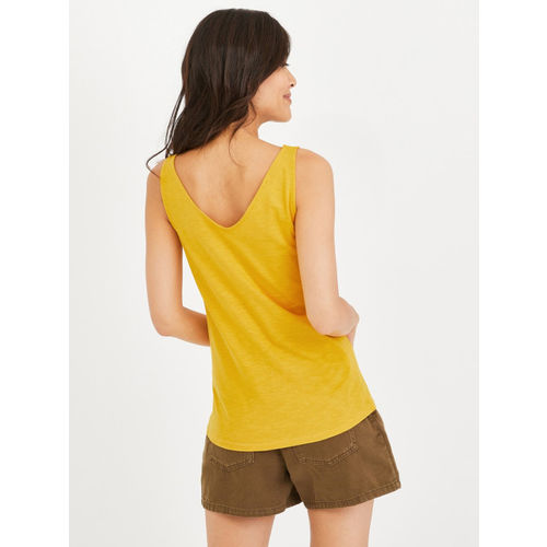 promod Women Mustard Yellow Solid Top