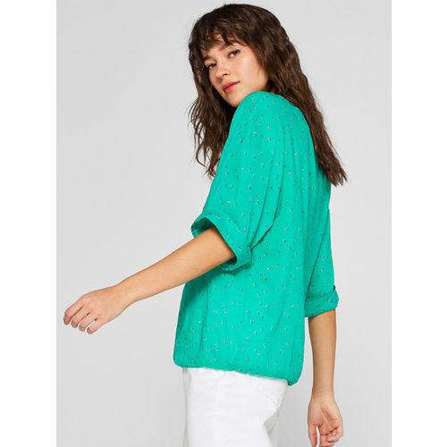 ESPRIT Women Green Printed Blouson Top