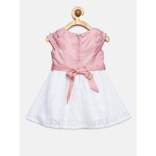 Peppermint Girls Off-White & Pink Colourblocked Fit and Flare Dress