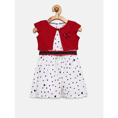 Peppermint Girls Off-White & Black Fit and Flare Dress With Shrug