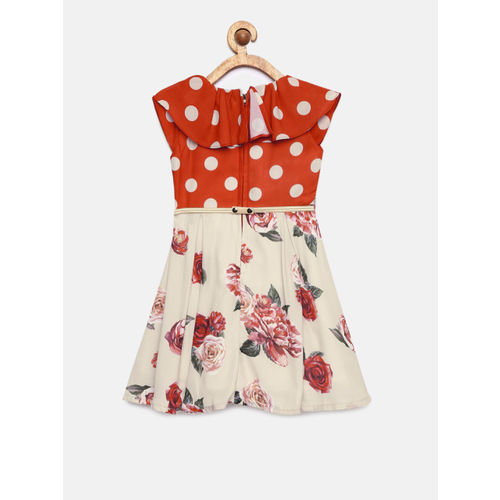 Peppermint Girls Rust-Coloured & Beige Fit and Flare Dress