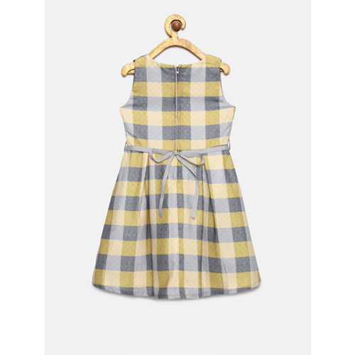 Peppermint Girls Yellow & Grey Fit and Flare Dress Dress With Shrug