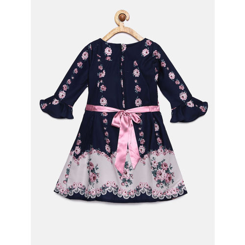 Peppermint Girls Navy Blue & Pink Fit and Flare Dress