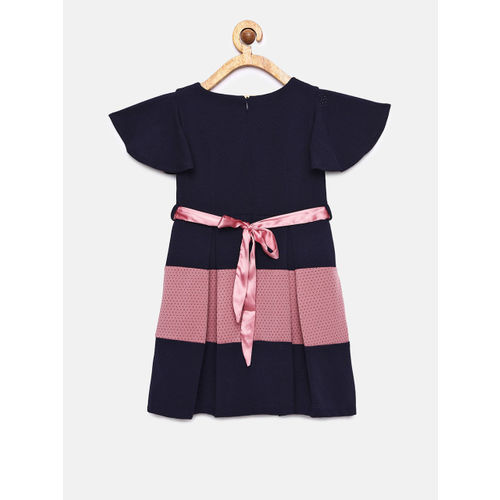 Peppermint Girls Navy Blue & Pink Colourblocked Fit and Flare Dress
