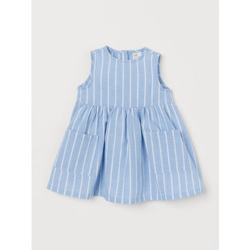 H&M Girls Blue & White Striped Dress With Pockets