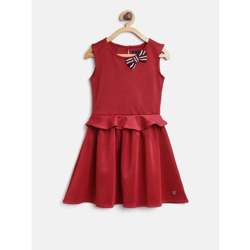 Allen Solly Junior Girls Maroon Solid Fit & Flare Dress