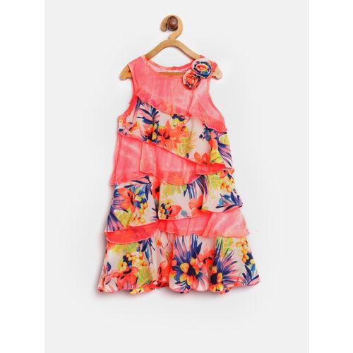 Nauti Nati Girls Coral Orange & White Layered Floral Print A-Line Dress