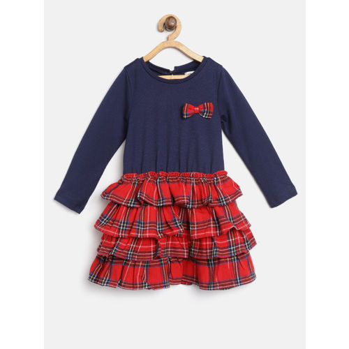 Nauti Nati Girls Navy Blue & Red Checked Fit and Flare Dress