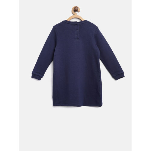 Marks & Spencer Girls Navy Blue Printed Sweatshirt Dress with Embroidered Detail