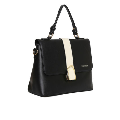 United Colors of Benetton Black & Off-White Solid Satchel Bag