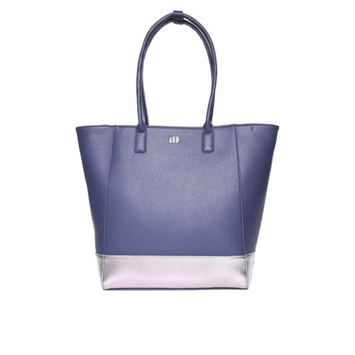 AND Navy Blue Solid Oversized Shoulder Bag with Laptop Sleeve
