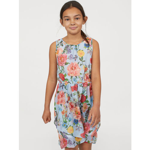H&M Girls Blue Printed Patterned dress