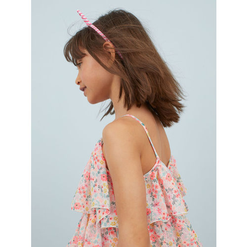 H&M Girls Pink Patterned Tiered Dress