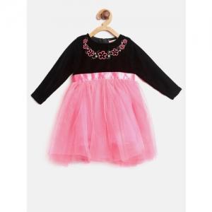 612 league Girls Pink & Black Colourblocked Fit & Flare Dress