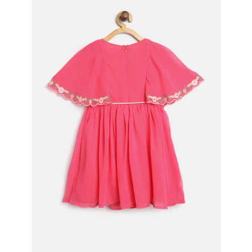 Nauti Nati Girls Pink Solid Fit & Flare Dress with Embroidered Detail