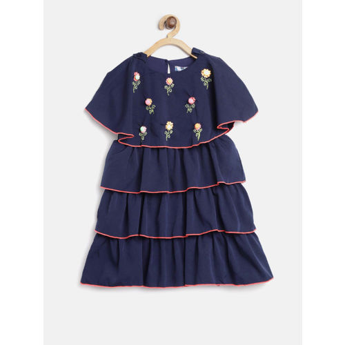 Nauti Nati Girls Navy Blue Solid Layered A-Line Dress with Embroidered Detail