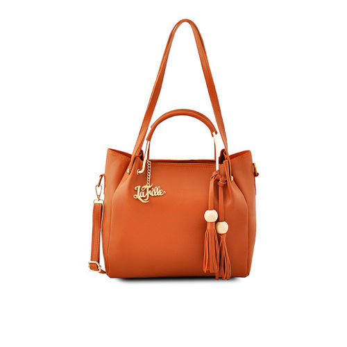 LaFille Tan Brown Solid Shoulder Bag with Clutch