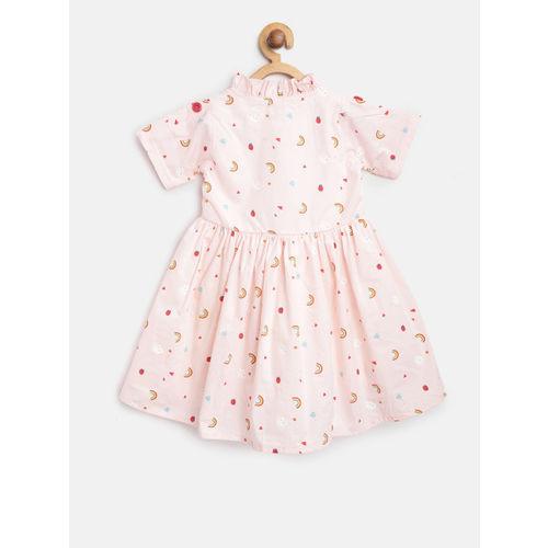Bella Moda Girls Pink Printed Fit & Flare Dress