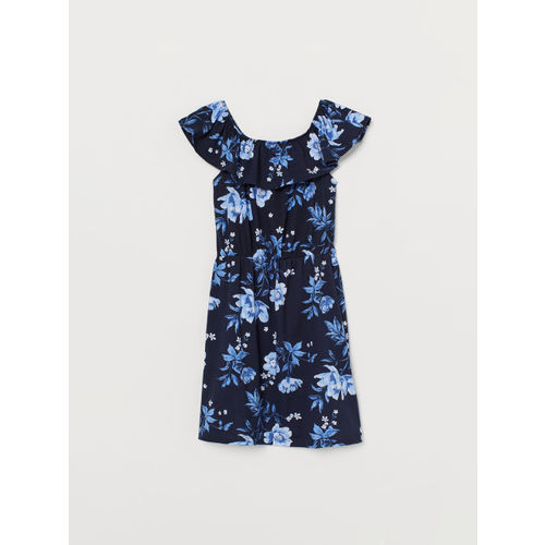 H&M Girls Blue Printed Patterned Jersey Dress