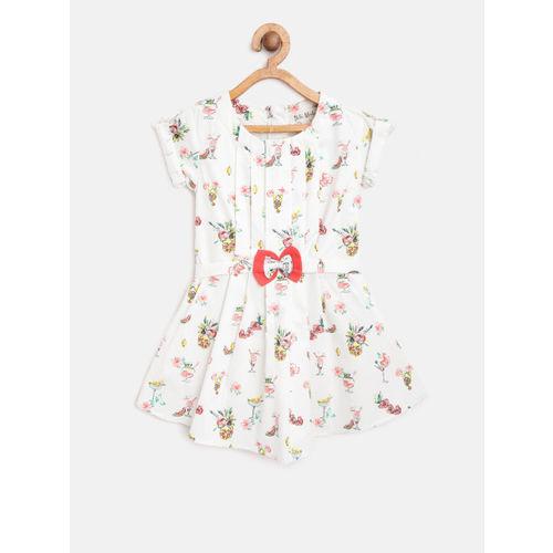 Bella Moda Girls White & Pink Printed Fit & Flare Dress