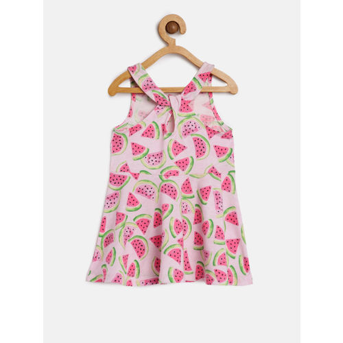 The Childrens Place Girls Pink & Green Printed Fit and Flare Dress
