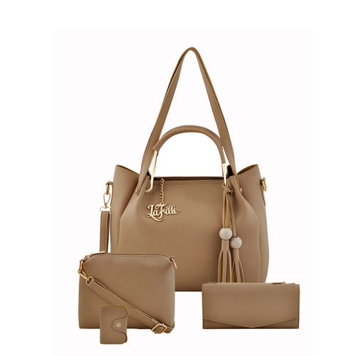 LaFille Beige Pack of 4 Solid Handbags