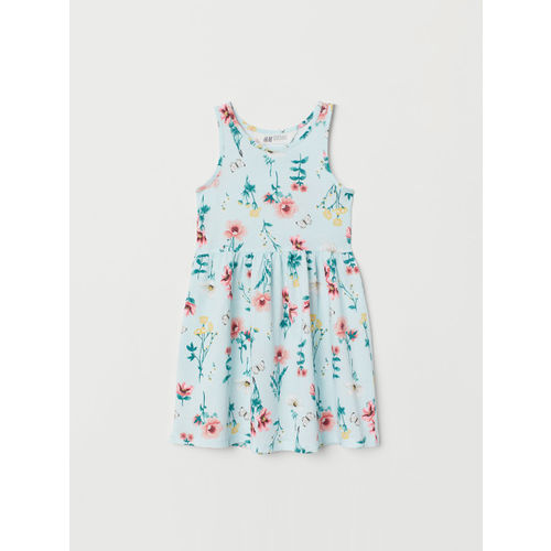 H&M Girls Green & Blue Patterned Jersey Dress
