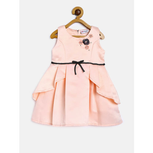 Peppermint Girls Peach-Coloured Solid Fit and Flare Dress