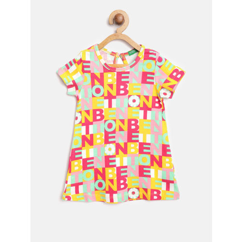 United Colors of Benetton Girls Yellow & Red Printed Shift Dress