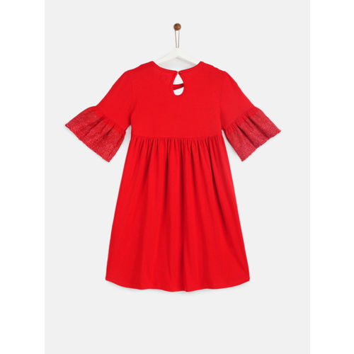 YK Girls Red Self Design Fit and Flare Dress