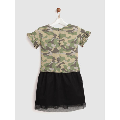 YK Girls Olive Green & Black Camouflage Print Shift Dress