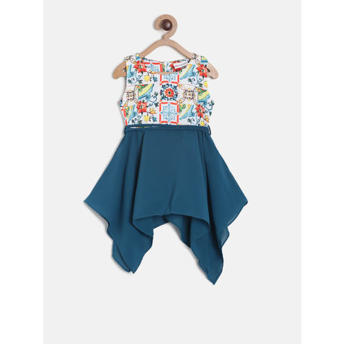 Peppermint Girls Teal & White Printed Fit and Flare Dress