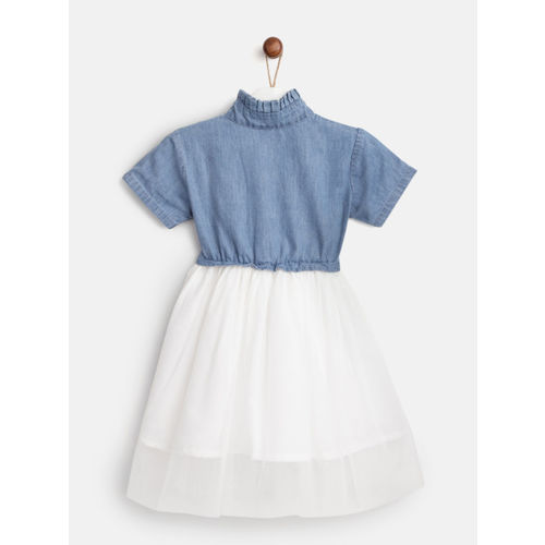 YK Girls Blue & White Colourblocked Chambray & Net Fit And Flared Dress