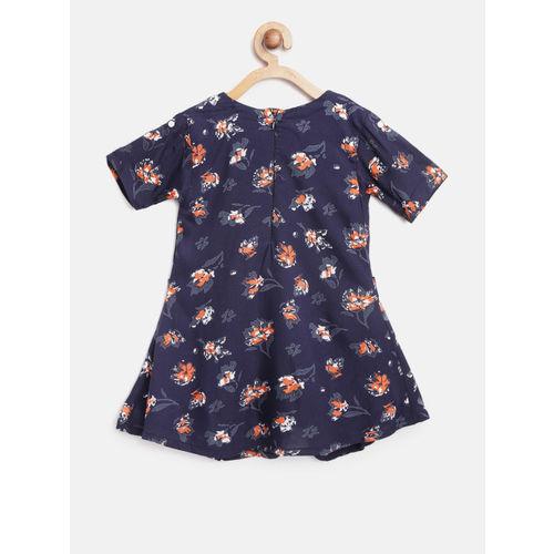 Bella Moda Girls Navy Blue & Orange Floral Print A-Line Dress