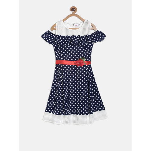 Peppermint Girls Navy Blue & White Fit and Flare Dress